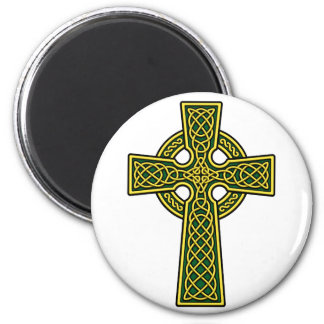Celtic Cross gold and green 2 Inch Round Magnet