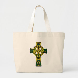 Celtic Cross gold and green Tote Bags
