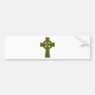 Celtic Cross gold and green Bumper Sticker