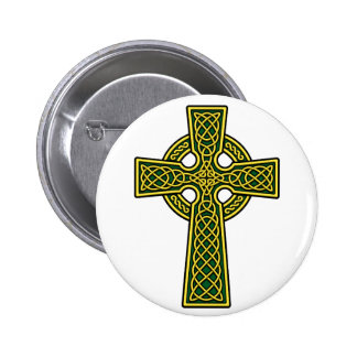 Celtic Cross gold and green 2 Inch Round Button