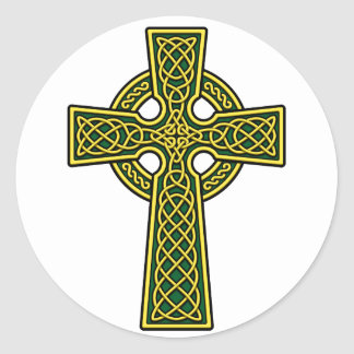 Celtic Cross gold and green Classic Round Sticker