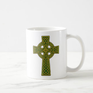 Celtic Cross gold and green Coffee Mug
