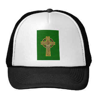 Celtic Cross, gold and green Mesh Hats