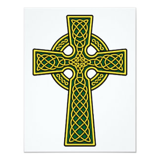"""Celtic Cross gold and green 4.25"""" X 5.5"""" Invitation Card"""