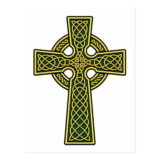 Celtic Cross gold and green Postcard