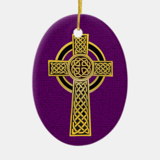 Celtic Cross, gold and purple Ceramic Ornament
