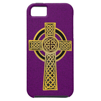 Celtic Cross, gold and purple iPhone SE/5/5s Case
