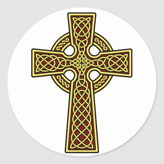 Celtic Cross gold and red Classic Round Sticker