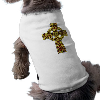 Celtic Cross gold and red Dog Shirt