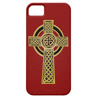 Celtic Cross, gold and red iPhone SE/5/5s Case