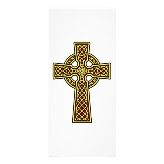 Celtic Cross gold and red Rack Card