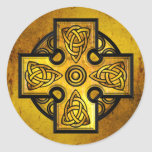 Celtic Cross (gold metal) Classic Round Sticker