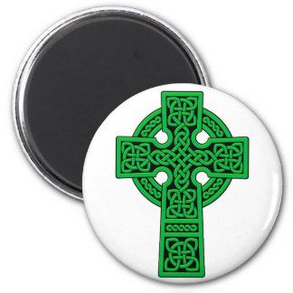 Celtic Cross green 2 Inch Round Magnet