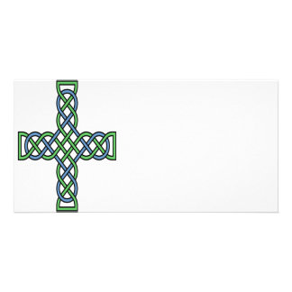Celtic Cross (Green and Blue) Photo Greeting Card
