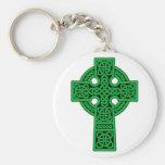 Celtic Cross green Basic Round Button Keychain
