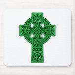 Celtic Cross green Mouse Pad