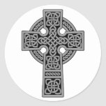Celtic Cross grey and black Classic Round Sticker
