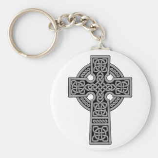 Celtic Cross grey and black Keychain