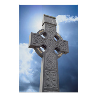 celtic cross head stone poster