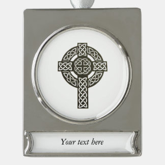 Celtic Cross Image Silver Plated Banner Ornament
