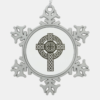 Celtic Cross Image Snowflake Pewter Christmas Ornament