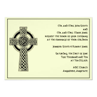 Celtic Cross in Black and Mythic Ivory Wedding Card