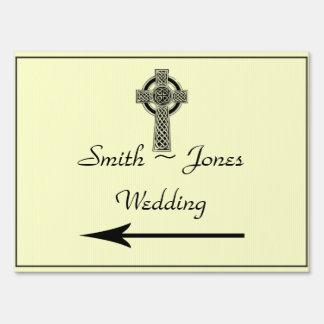Celtic Cross in Black Ivory Wedding Direction Sign