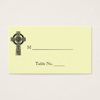 Celtic Cross in Black Ivory Wedding Place Cards