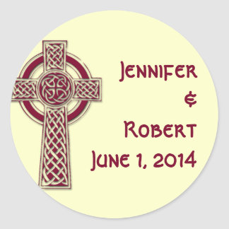 Celtic Cross in Burgundy and Mythic Ivory Classic Round Sticker