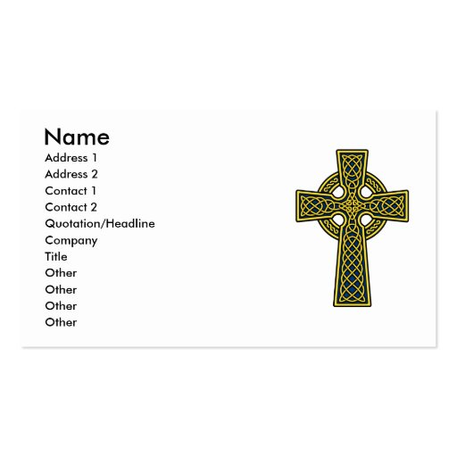Celtic Cross in Gold and Blue Double-Sided Standard Business Cards (Pack Of 100)