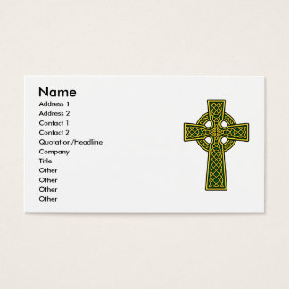 Celtic Cross in Gold and Green Business Card
