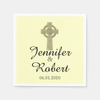 Celtic Cross in Gold and Ivory Wedding Napkin