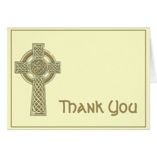 Celtic Cross in Gold and Mythic Ivory Thank You Card