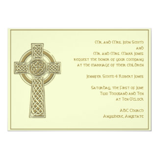 Celtic Cross in Gold and Mythic Ivory Wedding Card