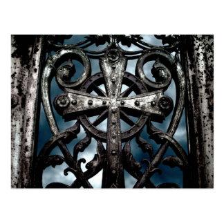 Celtic cross in heart Cemetery crypt door Postcards