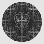 Celtic cross in heart gothic crypt door classic round sticker