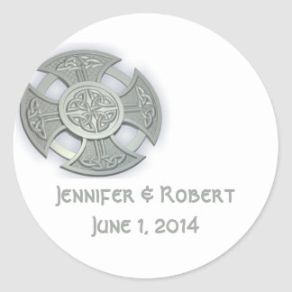 Celtic Cross in Silver and White Classic Round Sticker