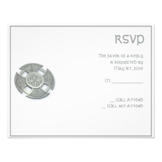 Celtic Cross in Silver and White Personalized Invitations