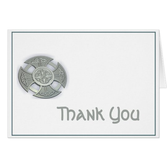 Celtic Cross in Silver and White Thank You Card