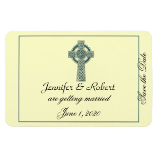 Celtic Cross in Teal and Ivory Save the Date Rectangular Photo Magnet