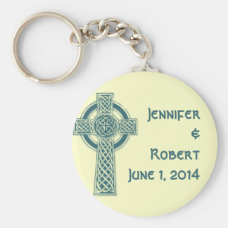 Celtic Cross in Teal and Mythic Ivory Basic Round Button Keychain