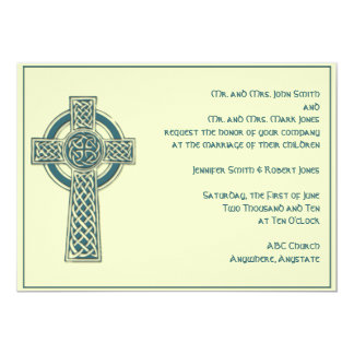 Celtic Cross in Teal and Mythic Ivory Personalized Invites