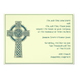 Celtic Cross in Teal Ivory Wedding Invitation