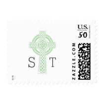 Celtic Cross initials Irish white stamp 3991