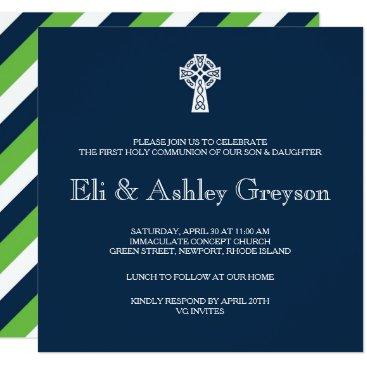 VGInvites Celtic Cross Invitation - Twins First Communion
