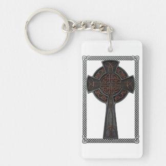 Celtic Cross Double-Sided Rectangular Acrylic Keychain