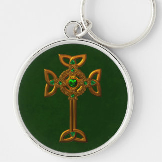 Celtic Cross Silver-Colored Round Keychain