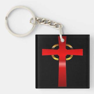 Celtic Cross Single-Sided Square Acrylic Keychain