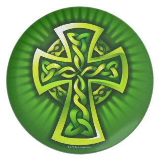 Celtic cross melamine plate