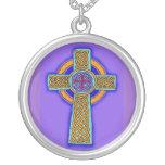 Celtic Cross Necklace Blue Hues